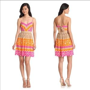 Trina Turk pink/orange/tan dress